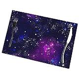 asdew987 Space Galaxy Constellation - Tovagliette lavabili per tavolo da pranzo, con stampa a doppio tessuto, in cotone, set da 6 tovagliette da cucina, 30,5 x 45,7 cm