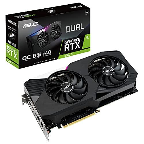 ASUS Dual NVIDIA GeForce RTX 3060 Ti V2 OC Edition - Tarjeta Gráfica Gaming (PCIe 4.0, 8GB GDDR6 , LHR, HDMI 2.1, DP 1.4a, Ventiladores Axial-Tech, Dual BIOS, Placa de Protección)