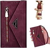 Kompatibel mit iPhone 12 Pro Max Hülle Handyhülle mit Kordel Necklace,Handykette Reißverschluss Kartenfächer Brieftasche Leder Tasche Klapphülle Flip Hülle Cover Ständer Schutzhülle,Rot