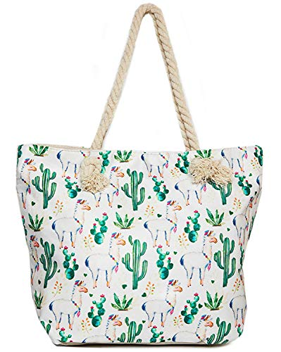 Llama Beach Shoulder Tote Bag - Llama With Cactus Weekender Travel Bag - Comes with Quick Reach Zipper Pouch