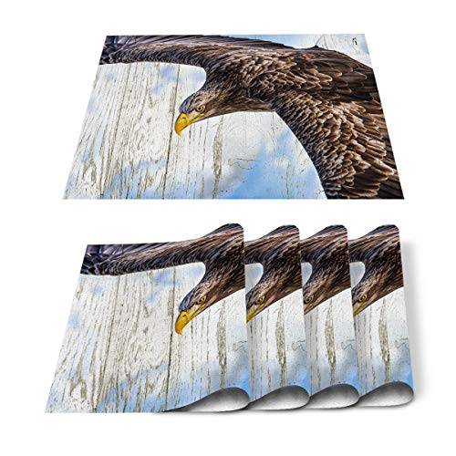 Placemats Set of 4 for Dining Table Eagle Soaring Wood Grain Background Animal Cotton Linen Heat Resistant Mats for Kitchen Table Decoration Washable 18L x 12W