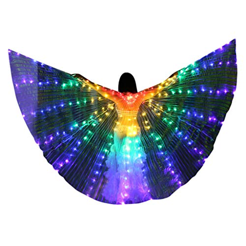 Affordable Becobe Adult LED Belly Dance Wings Colorful Butterfly Wings Without Telescopic Stick Deco...