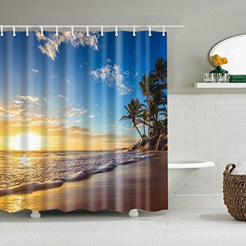 gwregdfbcv Yellow sunset blue sky green coconut tree shower curtainBathroom accessories 180X180CM waterproof and mildew shower curtain