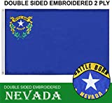 G128 - Nevada State Flag | 3x5 feet | Double Sided Embroidered 210D - Indoor/Outdoor, Brass Grommets, Heavy Duty Polyester, 2-ply