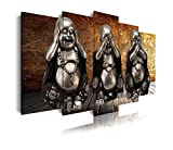 DekoArte 114 - Cuadros Modernos Impresión de Imagen Artística Digitalizada | Lienzo Decorativo para Tu Salón o Dormitorio | Estilo Zen con 3 Budas Ver Oír y Callar Fondo De Madera | 5 Piezas 150x80cm