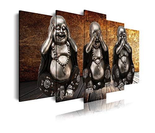 DekoArte 114 - Cuadros Modernos Impresión de Imagen Artística Digitalizada | Lienzo Decorativo Para Tu Salón o Dormitorio | Estilo Zen con 3 Budas Ver Oír y Callar Fondo De Madera | 5 Piezas 150x8