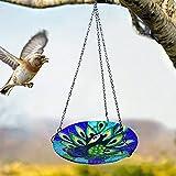 LEMCC Bandeja colgante para comederos de pájaros con forma de pavo real, bandeja de semillas de vidrio para comederos de pájaros
