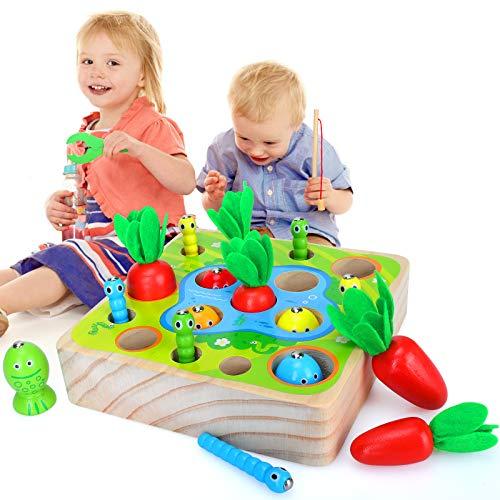Sinwind Giocattoli Montessori Legno, Legno Puzzle, Pesca Pesciolini Gioco, Giochi Montessori 1 2 3 Anni Giocattoli Educativi Compleanno, Montessori Magnetica Pesca Giocattolo (Colore)