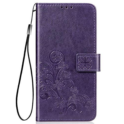 Hülle für Huawei nova 7 5G Hülle Leder,[Kartenfach & Standfunktion] Flip Case Lederhülle Schutzhülle für Huawei nova7 - EYSD070123 Violett