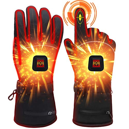 Rabbitroom Electric Winter Heated Gloves with Rechargeable Li-ion Battery, Waterproof Insulated Heating Driving Gloves, Thermal Warmth Gloves for Men and Women (7.4V, L)