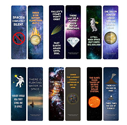 Creanoso Fun Facts About Space Bookmarks (12-Pack) - Six Bulk As Sorted Bookmarks Designs - Fun Time Reading Session - Premium Gift Set