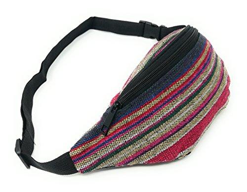 Riñonera Hippies Étnicas Rasta Urbana Chico/Chica Piscina cómoda y de Tela Estampada Novedad Moda (Red Line Rasta)