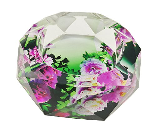 Unigift Colorful Peony Flowers Pattern Transparent Octangle Shape Crystal Glass Cigarette Ashtray for Home Office Tabletop Desk Decoration