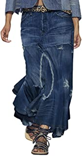 ORANDESIGNE Gonna di Jeans Lunga Vita Alta A-Line Gonna Lunga Plissettata con Tasche Gonna Elegante
