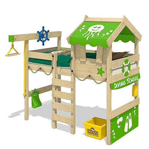 WICKEY Cama alta CrAzY Jelly Cama infantil con techo Cama para jugar 90x200 para niños con somier y sistema de grúa, verde manzana
