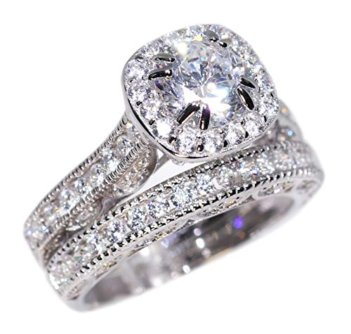 Engagement Ring Wedding Set Rhodium Platinum Over Sterling Silver 925 100% Solid Cubic Zirconia Stones AAAAA Alternative to Diamonds 2.5 Ct Lucienne Unique Design Anniversary Promise Bridal Valentines