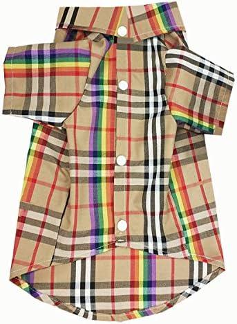 HOODDEAL Dog Shirts Rainbow Stripe Plaid Cotton Pet Clothes Stylish Cozy Khaki Dog Outfits Adorable product image