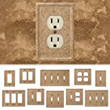 Tumbled Travertine Faux Textured Stone Noce Resin Switch Wall Plate Outlet Cover (Single Toggle)