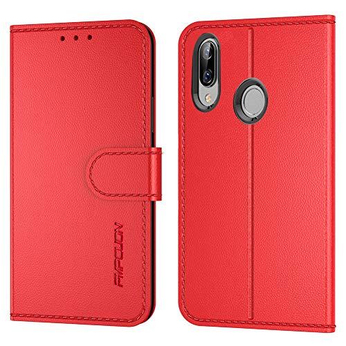 FMPCUON Handyhülle Kompatibel mit Huawei Honor Play Hülle Leder PU Leder Tasche,Flip Hülle Lederhülle Handyhülle Etui Handytasche Schutzhülle für Huawei Honor Play,Rot