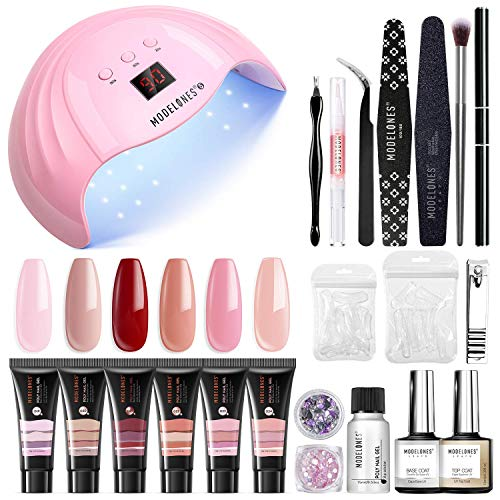 Modelones Poly Extension Gel Nail Kit - 6 Colors with 48W Nail Lamp Slip Solution Rhinestone Glitter All In One Kit for Nail Manicure Beginner Starter Kit DIY at Home Kit Gift