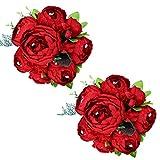 tifuly 2 mazzi di peonie artificiali, bouquet di fiori vintage di peonie di seta realistiche per la decorazione domestica del partito dell'ufficio di nozze, composizioni floreali (rossa primavera)