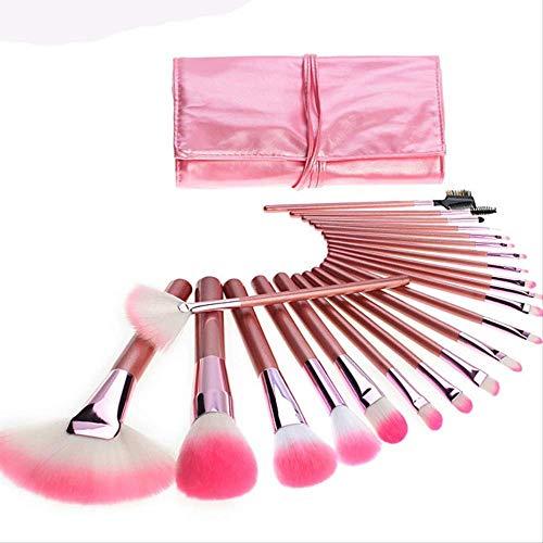 Kit De Maquillage Brosse 22 Pièces Portable Pu Sac Outil De Maquillage Set W-301 Rose