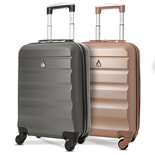 "Set of 2 Aerolite 21""/55cm ABS Cabin Hand Luggage Hardshell Travel Suitcase (Rose Gold + Charcoal)"