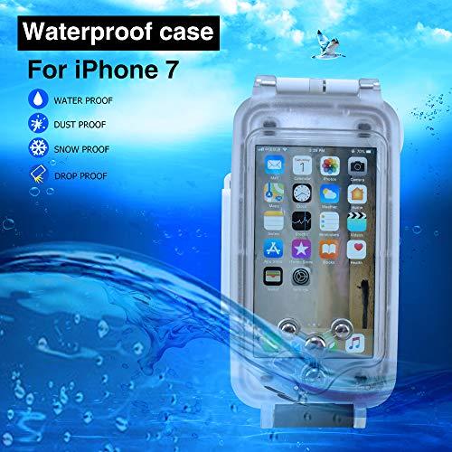 iPhone 7/8 Funda Impermeable Blanco, 130ft/40m Profundidad Sellado Completo A Prueba de Golpes, Nieve, Polvo, Agua Certificado IPX8 Buceo Natación Surf Snorkel Funda 4.7 Pulgadas