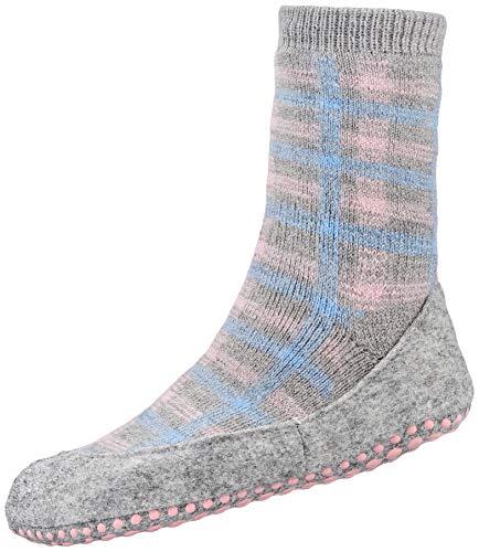 FALKE Unisex Kinder Chequed Cosyshoe K HP Hausschuh-Socken, grau (Light Grey 3400), 29-30 (5-6 Jahre)