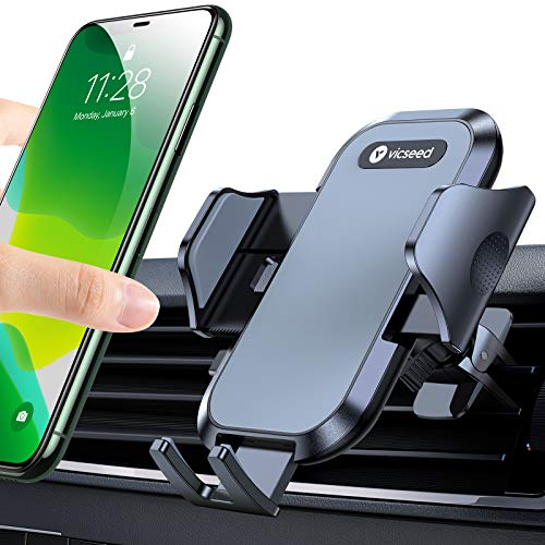 VICSEED Car Phone Holder Mount, [Upgrade Doesn't Slip & Drop] Air Vent Universal Cell Phone Holder for Car Hands Free Easy Clamp Cradle in Vehicle Compatible with All Apple iPhone Android Smartphone