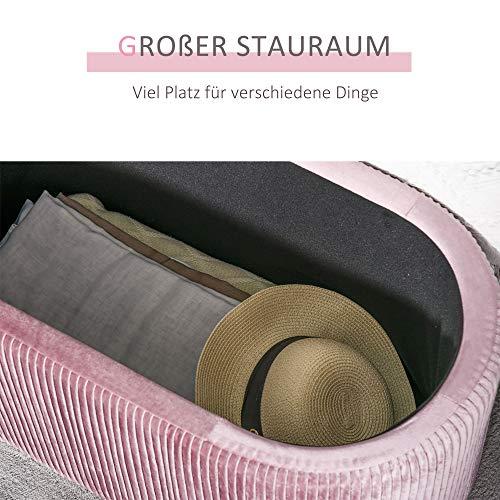 HOMCOM Sitzbank Polsterbank mit Stauraum Truhenbank für Wohnzimmer französische Stil Samt elegant Rosa 81 x 40 x 41 cm - 4