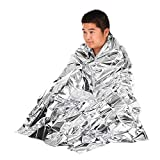 Docooler Emergency Mylar Thermal Blankets Double Sided All Weather Condition NASA Survival Space Blanket for Outdoors, Camping, Hiking, Marathon, First Aid (5pcs)