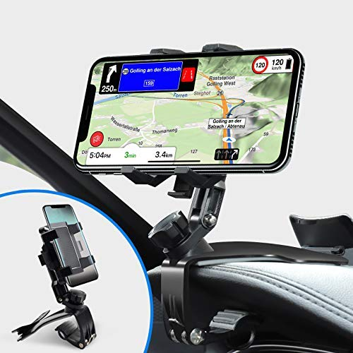 Phone Holder for Car, Car Phone Holder Mount with Upgrade 360 Degree Rotation Dashboard Universal &Adjustable Spring Clip Cell Phone Holder for Car 4 to 6.5 inch Smartphones