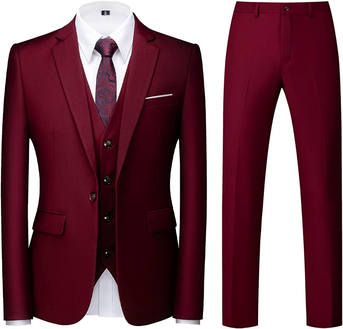 KUDORO Men' s Suits Regular Fit Tuxedo 3 Piece Jacket Vest Pants Set for Men Wedding Prom Casual Solid Color Single Breasted