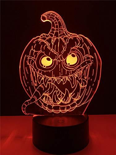 Lampara Mesilla de Noche,Luz Nocturna LED,Lámpara de Mesa,7 colores Patrón Calabaza de halloween,Luz del sueño Bebé,para cuarto de niños dormitorio decoración de la sala cumpleaños regalo
