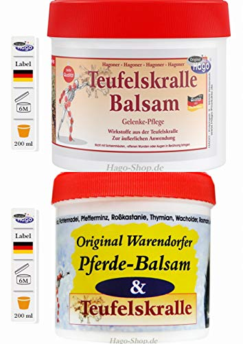 Testpaket Pferdebalsam mit Teufelskralle und Hagoner Teufelskralle Balsam
