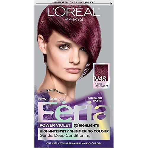 L'Oreal Paris Feria Multi-Faceted Shimmering Permanent Hair Color, V48 Violet Vixen (Intense Medium Violet), Pack of 1, Hair Dye