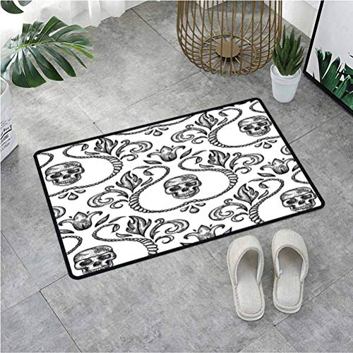 Summix Doormat for Front Door Ornament with Skull Goth Skeleton Floral Design in Baroque Style Illustration,Door Rugs for Outside Entry with Non-Slip Base & Lock Edge 23.6X47.2 Inch,Multicolor