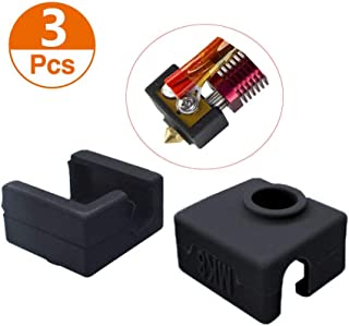 Calorbot 3D Printer Heater Block Silicone Cover 3pcs MK7/MK8/MK9 Hotend Silicone Socks Instead Ceramic Insulation for Creality CR-10 10S S4 S5 Ender 3 Anet A8 - Black
