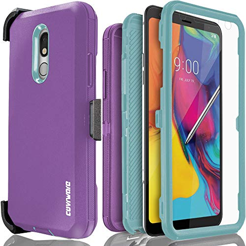 LG Stylo 5 / Stylo 5+ / Plus Case, COVRWARE [Tri Series] with Built-in [Screen Protector] Heavy Duty Full-Body Triple Layers Protective Armor Holster Cover [Swivel Belt-Clip][Kickstand], Purple