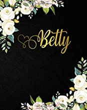 Betty: Nifty 2020-2024 Five Year Monthly Planner & 5 Year Organizer | 60 Months Spread View Agenda with To-Do's, Inspirational Quotes, Vision Boards & Notes | Girl Name Black Velvet & Gold Floral