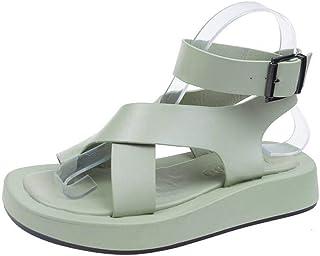 Women'S Sandals,Women'S Platform Sandals,Green Leather Low Heel Sandals For Women Casual Clip-Toe Cross Strap Sandalias Woman Summer Shoes