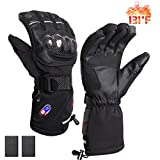 RTDEP Heated Riding Motorcycle Gloves Touch Screen Gloves Winter Warm Leather Gloves with Rechargeable Battery for Men&Women Waterproof Skiing Cycling Hiking(Large)