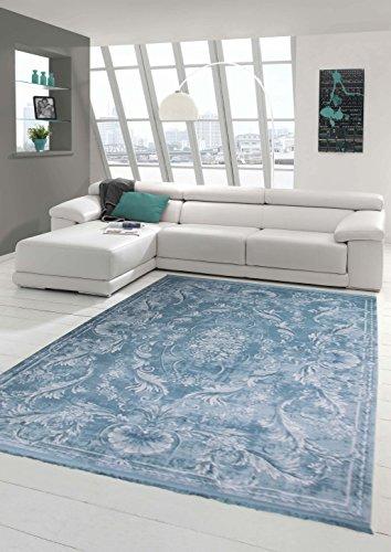 Designer Teppich Moderner Teppich Wollteppich Meliert Wohnzimmerteppich Wollteppich Ornament Türkis...