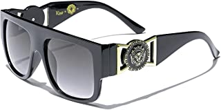 Flat Top Aviator Gold Buckle Hip Hop Rapper DJ Celebrity Sunglasses