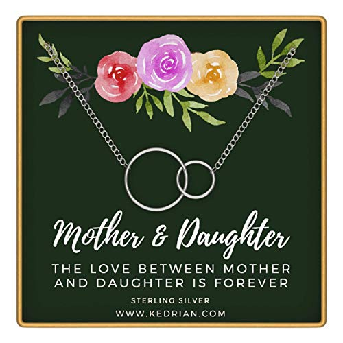 KEDRIAN Mother Daughter Necklace, 925 Sterling Silver, Mothers Day Gifts, Mom Necklace, Mom Gifts, Mom Birthday Gifts, Mother Daughter Gifts Ideas, Mother Presents, Mom Gifts From Daughter (Green)