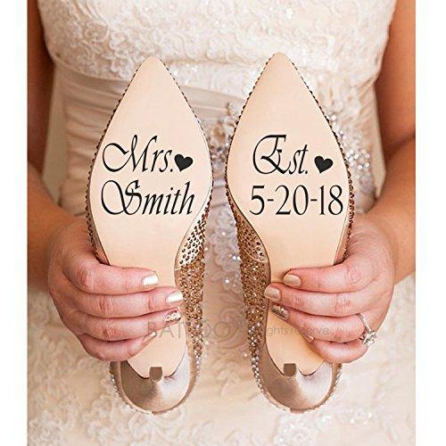 ymot101 Calcomanías para zapatos de boda con nombre y fecha, decoración de...