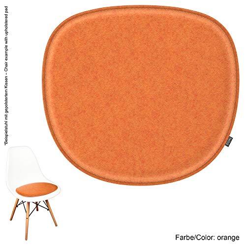 noe Eco Filz Sitzkissen geeignet für Vitra Eames Sidechair DSW,DSR,DSX,DSS - 29 Farben - optional gepolstert und mit Antirutsch! (orange)