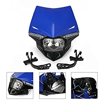 Street Fighter Headlight Universal Motorcycle Supermoto LED Light Dirt Bike Headlight Front Head Light For 12V 35W YZ YZF TTR WR 125 250 300 350 450 Blue