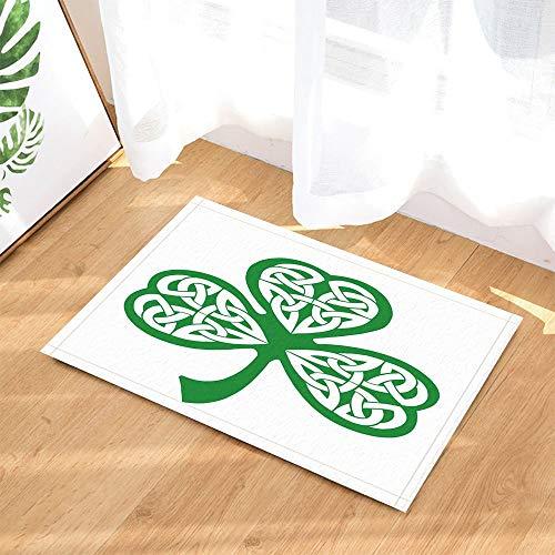 hdrjdrt Alfombra de baño de Saint Patrick, diseño de trébol hueco decorativo con fondo blanco, antideslizante, para entrada de suelo, para interiores, para niños, 60 x 40 cm, accesorios de baño